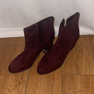 Unisa 8.5 Suede block Burgundy ankle boots